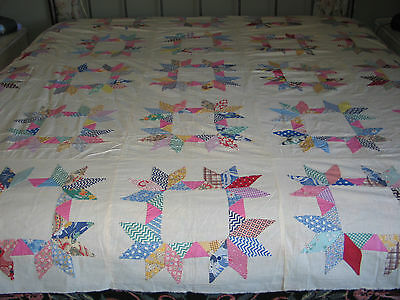 Antique VTG Hand Pieced~Applique Dresden HALF STAR Quilt Top~Feedsack Fabrics