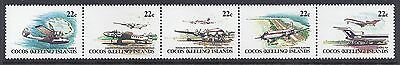 1981 Cocos Islands Aircraft Strip Of 5 Fine Mint Muh/mnh