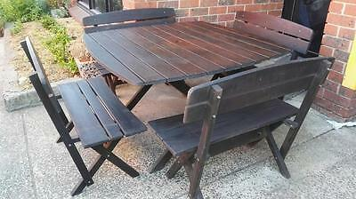 Outdoor Timber Rustic Table & Benches 8 Seater