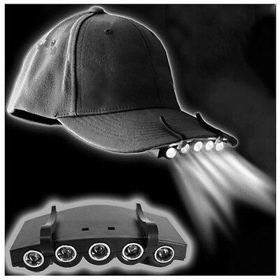 Lampe 5 LED Pince Clip Casquette Visière Frontale Eclairage Pêche Camping Chasse