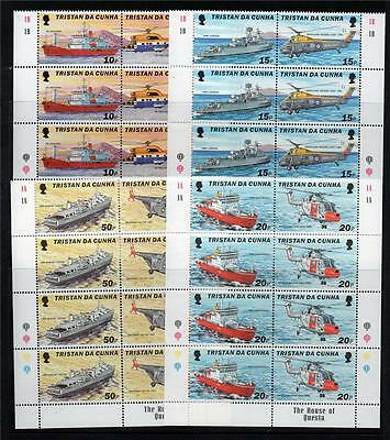 Tristan Da Cunha Mnh 2000 Sg688-695 Helicopters And Ships Blocks Set Of 8