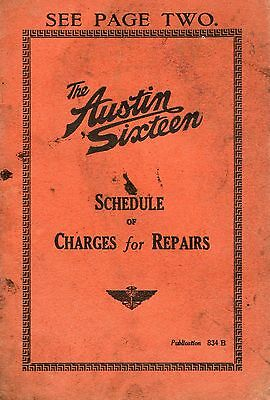 1935 Austin Sixteen Original SCHEDULE of CHARGES for REPAIRS 14 pages - used