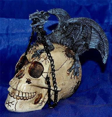 Nemesis Now GOTHIC HUMAN SKULL & DRAGON FAMILIAR FIGURE Magic Wiccan Pagan