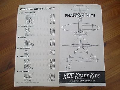 VINTAGE 1948 Keil Kraft Phantom Mite BUILDING INSTRUCTIONS & KIT RANGE