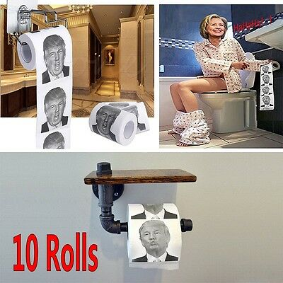 10 Pcs Donald Trump Humour Toilet Paper Novelty Funny Gag Gift Dump with Trump