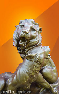 Magnificent Bronze Lion & Lioness, Bronze Statue Figurine Animal Sculpture