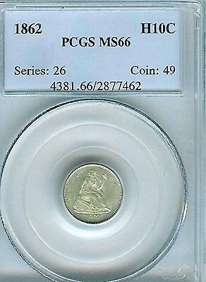 1862  Seated Half  Dime : PCGS MS66