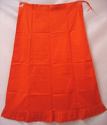 Orange Pure Cotton Frill Petticoat Skirt Buy Choli Top Tops And Sari #3598H
