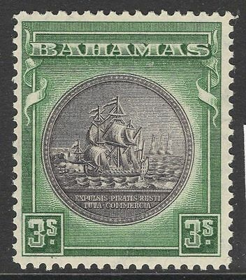 BAHAMAS SG132a 1943 3/= BROWNISH-BLACK & GREEN MTD MINT