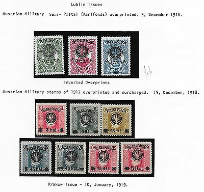 Poland stamps 1918 Collection of 10 INVERTED Ovpt  MLH  VF