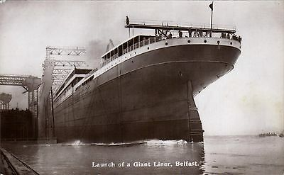 White Star Titanic Sister Ship RMS Britannic by Walton. Launch at Belfast.
