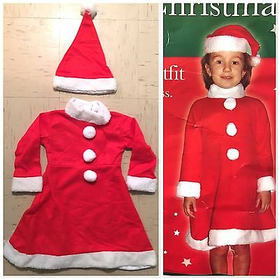 BNWT Red and White GIRLS TWO PIECE SANTA OUTFIT (Age 3-4? Measurements Below)