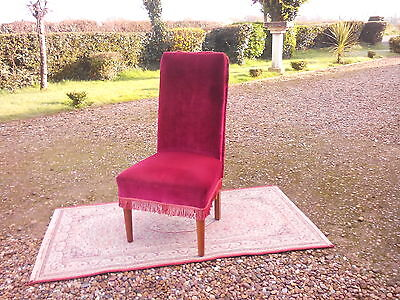 Chair: c1940/50's period  Oak framed high backed soft red velour nursing chair