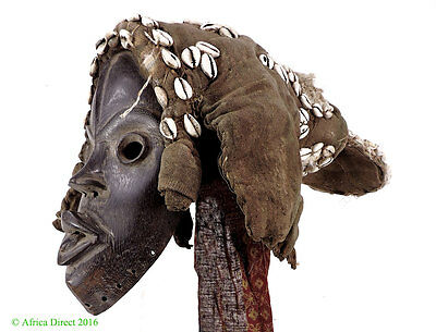 Dan Hooded Mask Deangle Cowrie Shells Liberia African Art