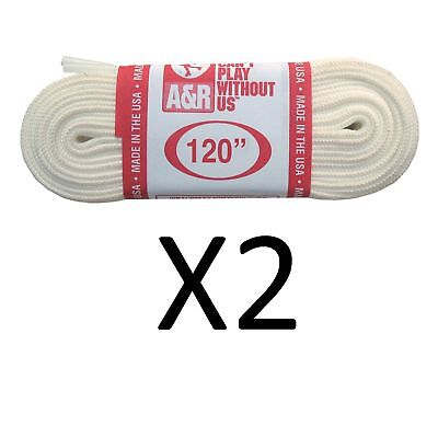 """A&R Ice Figure Skate Laces Heavy Duty Laces 63"""" 120 Inches White 120"""" (2-Pack)"""