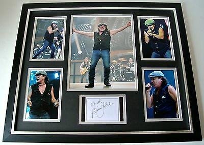 Brian Johnson SIGNED FRAMED Huge Photo Rare Autograph display ACDC Music & COA