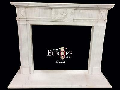 Beautiful Hand Carved Marble  European Design  Fireplace Mantel - Jd314