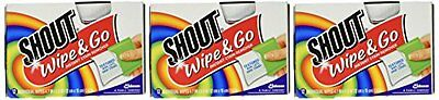 Pack Of 3 Shout Stain Remover Wipes-12 New
