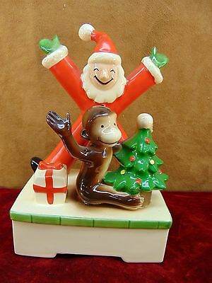 VERY RARE Vintage CURIOUS GEORGE MUSIC BOX Santa Claus GORHAM Japan CHRISTMAS