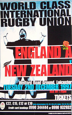 "England A v NZ at Leicester 1997 RUGBY POSTER A2, 59.4cm x 42cm = 23.4"" x 16.5"""