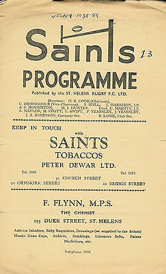 St Helens v Wigan 26 Dec 1958 RUGBY LEAGUE PROGRAMME