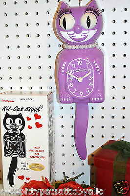 Kit Cat Clock Orchid Purple Moving Eyes &  Tail Made In USA