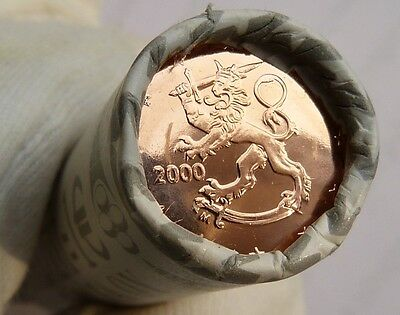 Finland Mint Roll - 2 Euro Cent 2000 - 50 Coins All Bu Except End Coins