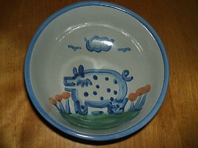 Ma Hadley Pottery Country Scene Blue Pig Cereal Bowl