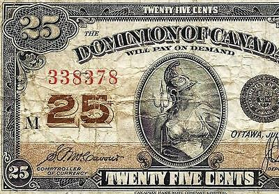 1923 DOMINION CANADA 25 CENTS ~ McCavour Saunders SHINPLASTER ~ BANK NOTE DC-24c