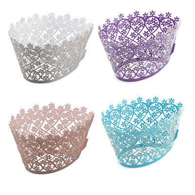 Birthday Party Cake Decor Pearlescent Paper Hollow Carving Cupcake Holders 10pcs