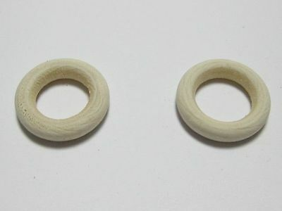 50 Natural Untreated Plain Wooden Donut Round Ring Beads 24mm