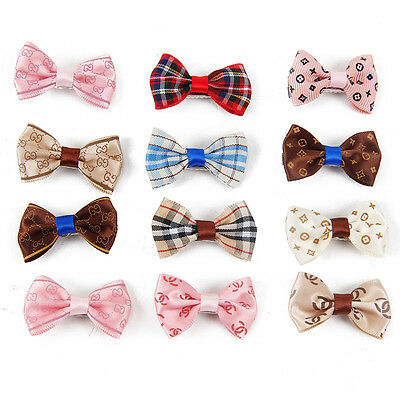 Pet Dog Hair Bows Tie 12PCS Dog Hair Clip Hairpin Color Dog Grooming Accessories