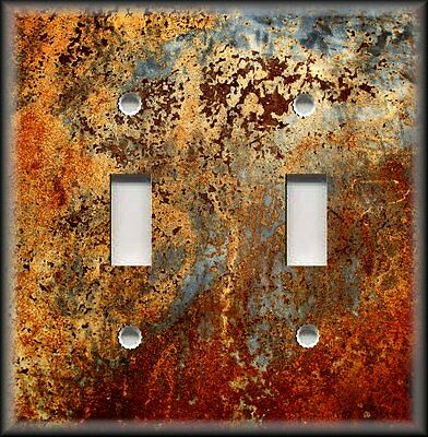 Light Switch Plate Cover - Image Of Aged Copper 03 - Patina - Home Decor Rustic