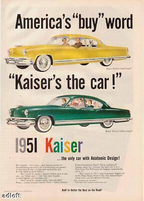 1951 Kaiser DeLuxe Club Coupe/4-door Sedan Art print ad