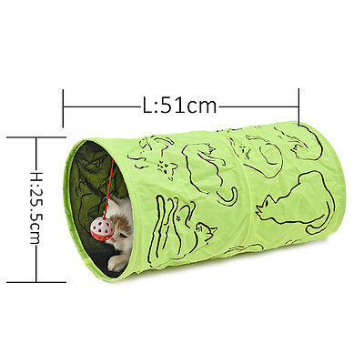 Pet Cat Tunnel Toys Printed Green Crinkly Sound Kitten Cat Tunnel Toy With Ball