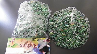 BULK LOT: 408 Pce Children's Toy Glass Playing Marbles - 4 Bags + Tom Bowlers