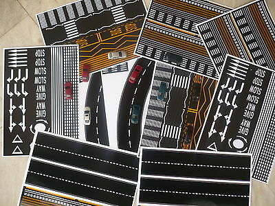 Lot 12 Vinyl Glossy Self Adhesive Sheets With Roads And Parking Ho Scale #f1