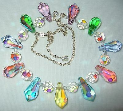 Very Pretty Vintage 50S/60's Ab Crystal Glass Teardrop Beads & Chain Necklace