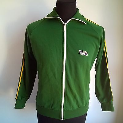Green Track Top 1980's Vintage Made In Austria Atlas Jersey Size Adult M