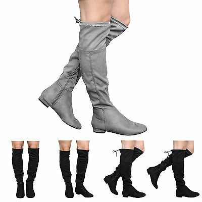 New Ladies Womens Girls Kids Low Heel Knee Stretch Shoes Boots Size Uk 10-5