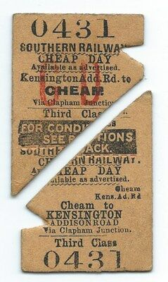 SOUTHERN RAILWAY SR - Kensington Addison Road to Cheam ticket 1933 severed