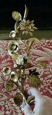 Vtg Floral Gilt Tole Metal Gold Leaf Sconce 1 Candle - Italy