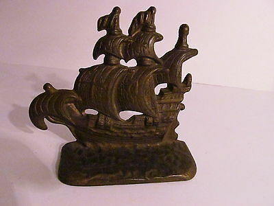 """Antique Cast Iron Marked Pirate Galleon Ship Bookend Dated 1928 4""""x4"""""""