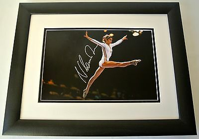 Nadia Comaneci SIGNED FRAMED Photo Autograph 16x12 Huge display Gymnastics & COA