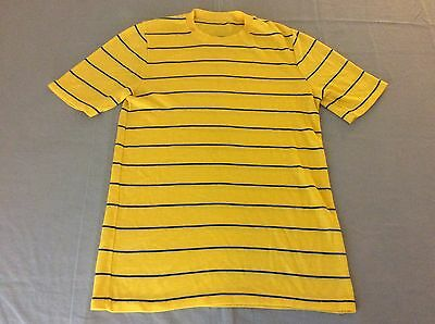 Vintage 70S 80S Striped Yellow Tee 50/50 Blend T-Shirt Mens Medium, Large Soft!