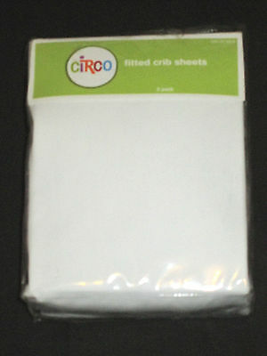 """Circo 2 Pack of White Fitted Crib Sheets for Standard 28"""" X 52"""" Mattress"""