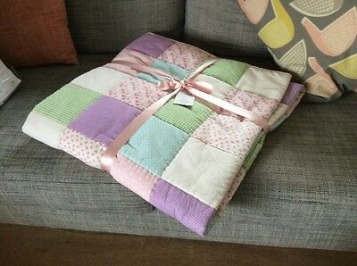 Laura Ashley Kids Clementine Patchwork Quilt Throw or Cot Bedspread