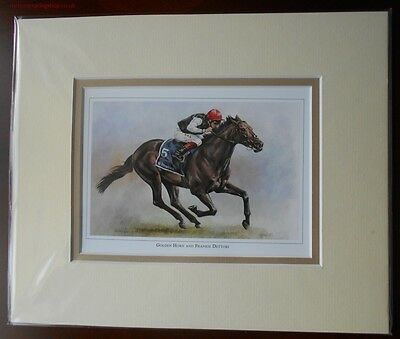 Golden Horne Frankie Dettori Double Mounted Fine Art Picture Print  HorseRacing