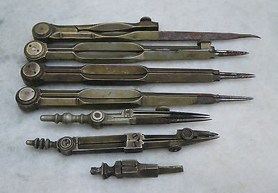 Collection Antique Victorian Draughtsmans Brass Drawing Instruments