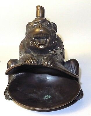 Vintage Rare 1930s Ronson #8864 Monkey Ape Cigar Striker Table Lighter & Ashtray